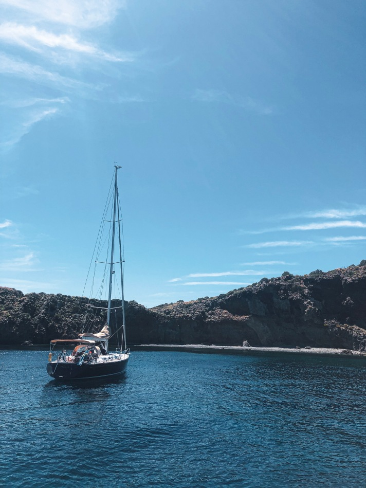 Sailboat in Aeolian Islands, Italy