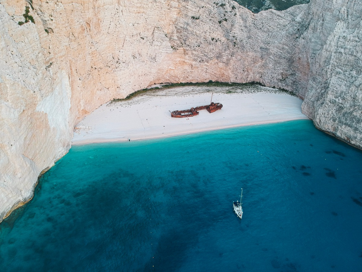 Sailing boat in shipwreck bay greece