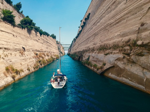 sailboat in Corinth Canal